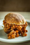 Sloppy Joes. A rustic sloppy joe made with fresh whole wheat rolls and fresh ingredients Stock Image