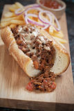 Sloppy joes sandwich with ground beef and cheese Stock Photos