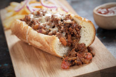 Sloppy joes sandwich with ground beef and cheese Royalty Free Stock Images