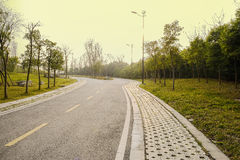 Slopy asphalt road in warm spring afternoon sunlight Royalty Free Stock Photography