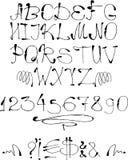 Slopy inc hand drog bokstäver Arkivfoto