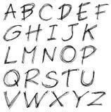 Slordig bovenleer - het Engelse alfabet van de geval hoofdletter stock illustratie