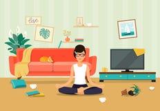 Slordig woonkamerbinnenland De jonge vrouw in yoga stelt, lotusbloempositie royalty-vrije illustratie