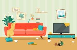 Slordig woonkamerbinnenland Meubilair: bank, boekenkast, TV, lampen vector illustratie