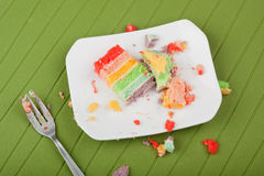 Slordige placemat na het eten van cake Stock Foto