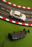 Slot Car 1. Silver slot car with controller Royalty Free Stock Photos
