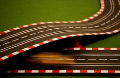Slot Car 7. Fast slot car on crossing track Stock Images