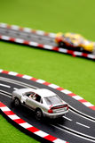 Slot Car 8. Two slot cars on track Royalty Free Stock Photography