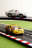 Slot Car 9. Two slot cars on crossing track Royalty Free Stock Photo