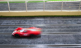 Slot car. Speed on a track Royalty Free Stock Photos