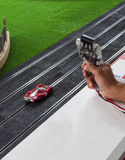 Slot car. Start the race with a slot car Royalty Free Stock Photos