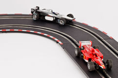 Slot cars. Racing on the track stock photo