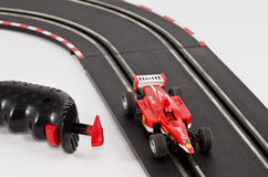 Slot cars. Slot car on the track Royalty Free Stock Photos