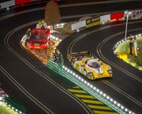 Slot cars. Scalextric slot car on race track Royalty Free Stock Photos