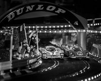 Slot cars. Scalextric slot car on race track Royalty Free Stock Images