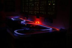 Slot cars speed lights Royalty Free Stock Photography