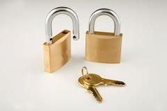 Slot en sleutels stock afbeeldingen