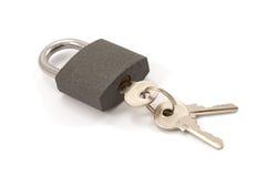 Slot en sleutels (die met schaduwen wordt geïsoleerdj) Stock Afbeelding