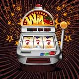 Slot fruit machine  winning on sevens. Slot fruit machine with cherry winning on sevens Stock Image