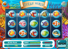 Slot game template with fish characters. Illustration Stock Photos