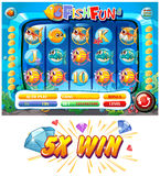 Slot game template with fish characters. Illustration Stock Photography