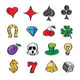 Slot icons. Vector illustration collection  slot machine symbols. Outline icons. Bell, horseshoe, clover, skull, plum, diamond, cherry, dice, heart. Isolated on Royalty Free Stock Image