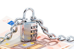 Slot, kettingen en geld royalty-vrije stock afbeelding