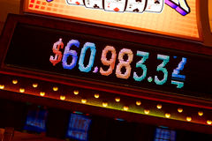 Slot machine. Winnings displaying on slot machine of american casino Stock Images