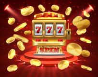 Slot machine banner. Casino gambling roulette online lottery jackpot 3D realistic gambling background. Roulette slot vector illustration