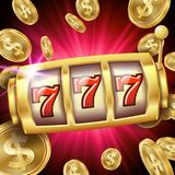 Slot Machine Banner Vector. Casino Luck Word. Big Win 777 Lottery. Poster. Illustration. Casino Slot Machine Banner Vector. Spin Wheel. Brochure. Casino Concept stock illustration
