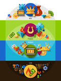 Slot machine banners set. Slot machine with symbols for win chance jackpot and loss shadow horizontal banners set flat isolated vector illustration Royalty Free Stock Photography