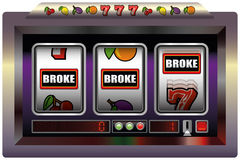 Slot Machine Broke. Illustration of a slot machine with three reels, slot machine symbols and the lettering BROKE. Isolated vector on white background Royalty Free Stock Photos