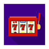 A slot machine in a casino. An automatic with a lever and a dial.Kasino single icon in flat style vector symbol stock Stock Photo