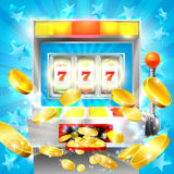 Slot Machine Casino Jackpot. Concept with a slot or fruit machine hitting lucky 777 and gold coins flying out Royalty Free Stock Images