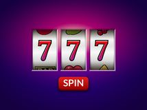 Slot machine casino jackpot 777 lucky vector spin game gambling background.  vector illustration
