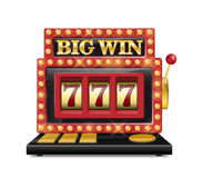 Slot machine for casino, lucky seven in gambling game isolated on white. Jackpot slot big win casino machine. Vector one Royalty Free Stock Photos