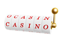 Slot machine with casino sign. Isolated on white background Royalty Free Stock Images