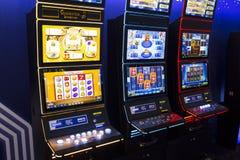 Slot machine in a casino. Sofia, Bulgaria - November 24, 2016: A slot machine is seen in a casino equipment exhibition in Inter Expo Center Royalty Free Stock Photos