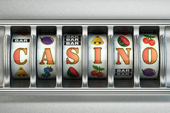 Slot machine with casino text. Jackpot concept. Royalty Free Stock Images