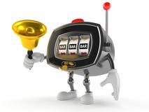 Slot machine character holding handbell. On white background Royalty Free Stock Photography