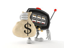 Slot machine character holding money bag Royalty Free Stock Photos