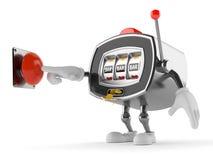Slot machine character pushing button. On white background Stock Image