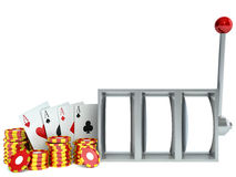 Slot Machine and chips with playing cards Stock Image