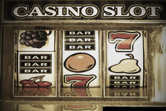 Slot machine. 777 close up Stock Images