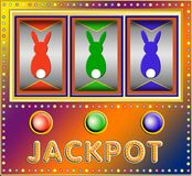 Slot machine with colorful easter bunnies. Colorful Slot machine with three colorful silhouettes of easter bunnies Royalty Free Stock Photos