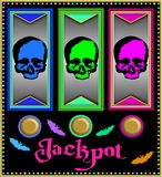 Slot machine with colorful skulls Stock Image