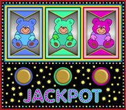 Slot machine with colorful teddy bears Stock Images