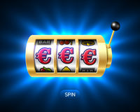 Slot machine com euro- jackpot Foto de Stock