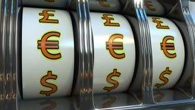 Slot machine com euro- símbolos de moeda Conceitos dos estrangeiros, da fortuna ou da sorte do ` s do acionista rendição 3d Foto de Stock Royalty Free
