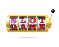 Slot machine com jogo do entalhe do texto Fotografia de Stock Royalty Free
